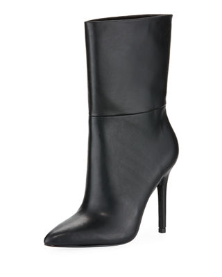 Palisades Leather Booties, Black Faux Leather