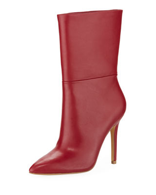Palisades Leather Booties, Scarlet Faux Leather