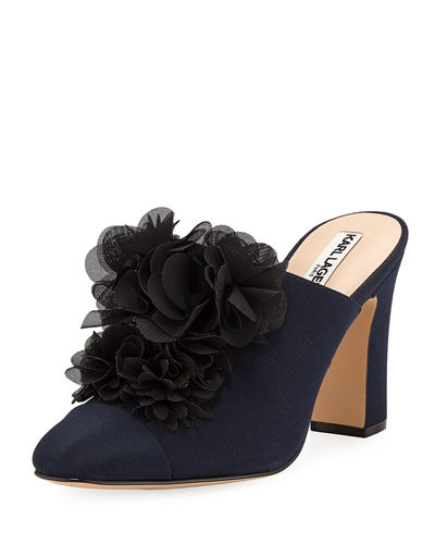 Neva Heeled Mules with Flower Appliqué