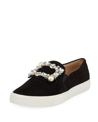 Evelyn Imitation Pearl Embellished Sneaker, Black