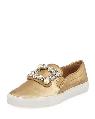 Evelyn Imitation Pearl Embellished Sneaker, Gold