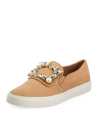 Evelyn Imitation Pearl Embellished Sneaker, Nude