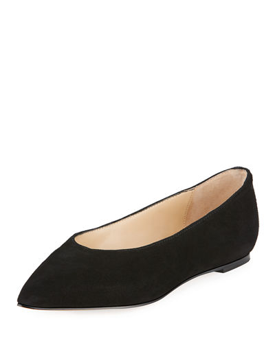 Adrienne Vittadini Fraze Pointy-Toe Suede Ballet Flats