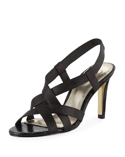 Adrianna Papell Addie Heeled Stretch-Fabric Sandals