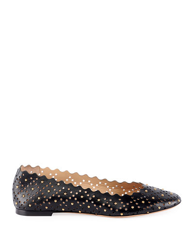 Lauren Perforated Leather Ballet Flat with Studs