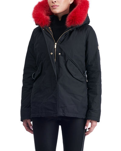 Apres-Ski Down-Fill Parka with Fox Trim Hood