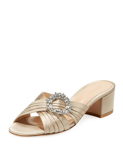 Gianvito Rossi Satin Embellished Slide Sandals
