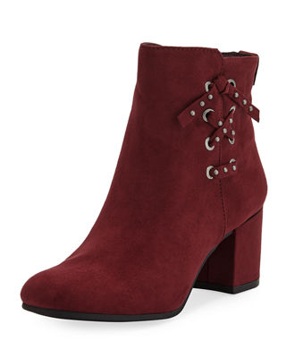 CIRCUS BY SAM EDELMAN Vinnie Faux-Suede Lace-Up Side Booties in Wine