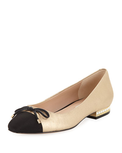 Nantes Ballet Flats With Pearly Heel Detail