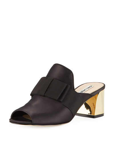 Fern Open-Toe Mules With Bow