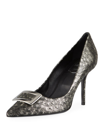 Roger Vivier Decollette Privilege Ostrich Leather Pumps