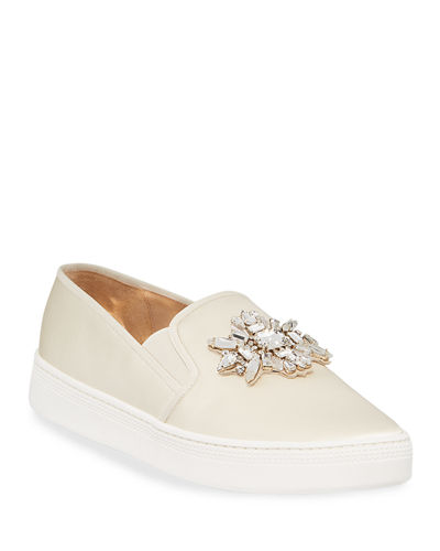 Barre Jeweled Satin Slip-On Sneakers