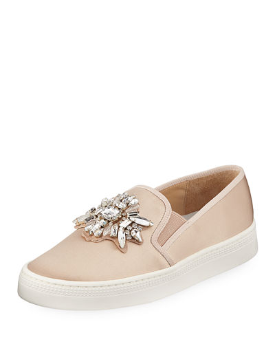 Badgley Mischka Barre Jeweled Satin Slip-On Sneakers