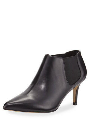 Mars Leather Kitten-Heel Booties in Black