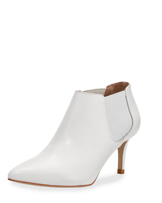 Mars Leather Kitten-Heel Booties in White