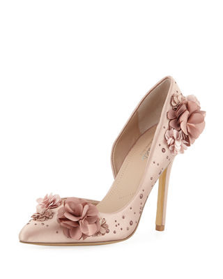 CHARLES BY CHARLES DAVID Poloma Flower Applique Satin Embellished Pumps in Brown