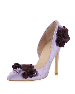 CHARLES BY CHARLES DAVID Poloma Flower Applique Satin Embellished Pumps in Purple
