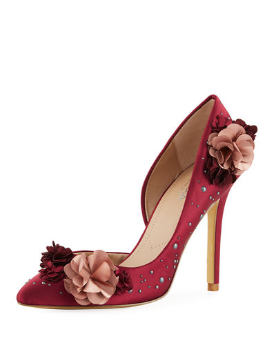 Charles by Charles David Poloma Flower Applique Satin