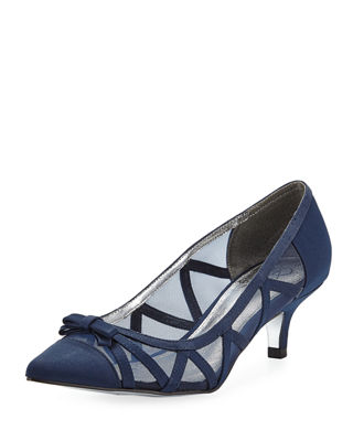 ADRIANNA PAPELL Lana Pointed Mesh Pumps in Navy