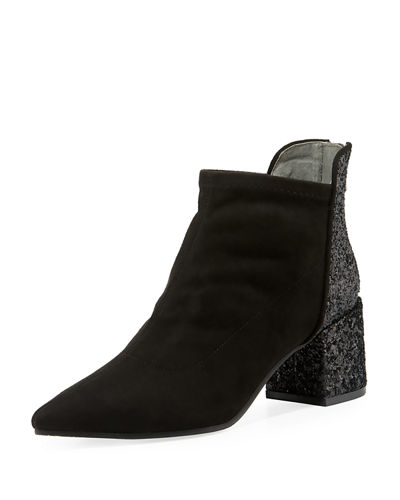 Pointed Block-Heel Booties