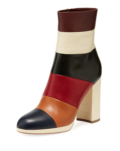 Colorblock Leather Ankle Boots