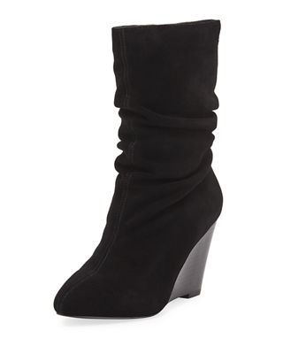 Erik Scrunched Suede Booties in Black
