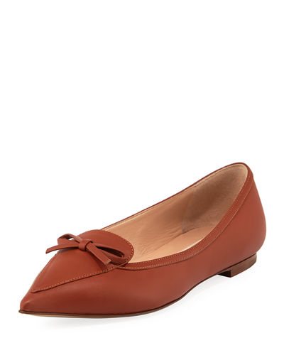 44ee7d327770 Valentino Garavani Smooth Leather Bow Ballet Flats