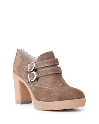 AMALFI BY RANGONI AMERICA Suede Fashion Platform Booties in Taupe