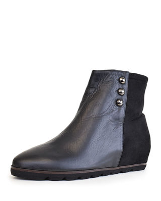 AMALFI BY RANGONI AMERICA Mixed Studded Hidden Wedge Ankle Booties in Black