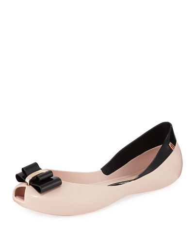 Queen V Peep-Toe Jelly Flats