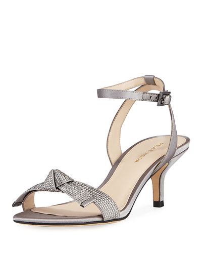 Alexia Jeweled-Strap Satin  Sandals
