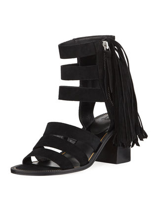 MARC FISHER Collin Fringed Suede Sandals in Black