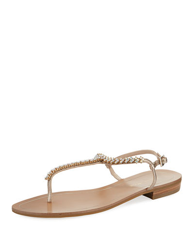 Baxley Crystal T-Strap Leather Sandals