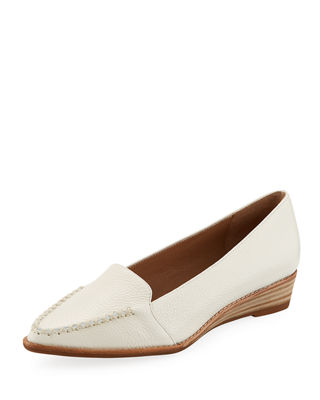 BETTYE MULLER CONCEPT Chet Tumbled Leather Loafers in White