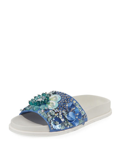 Xenia Sequined Pool Slides