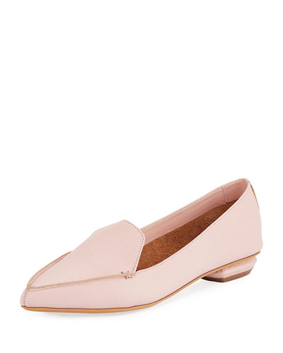 Pebbled Pointed-Toe Loafer
