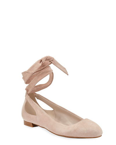 Kenneth Cole Wilhemina Ankle-Wrap Suede Flats