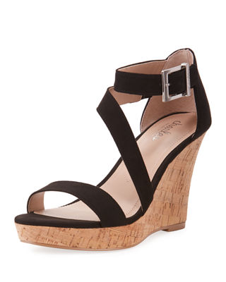 Leanna Ankle-Strap Wedge Sandals in Black