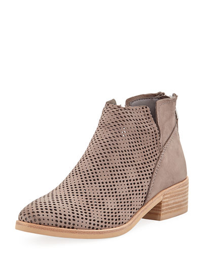 Perforated Nubuck Notched Booties