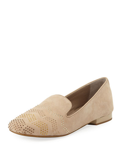 Hapi Crystal-Studded Suede Moc Loafers
