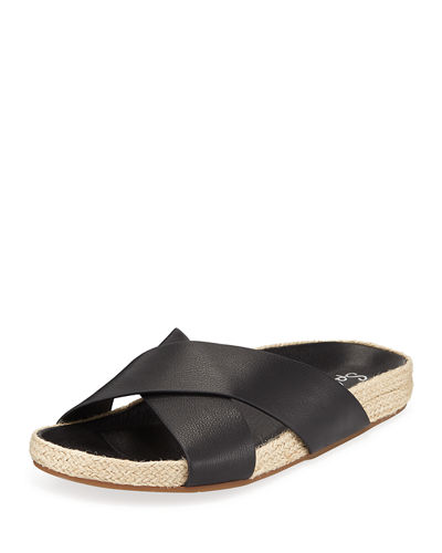Sybil Leather Crisscross Slide Sandals