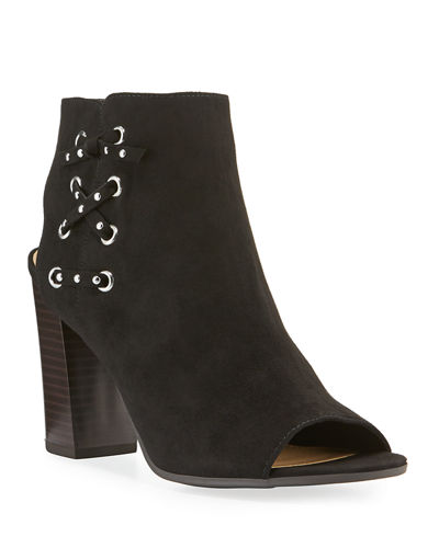 Edna Faux-Suede Open-Toe Booties
