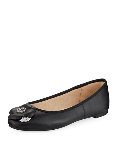 Cecilia Leather Flower Ballet Flats
