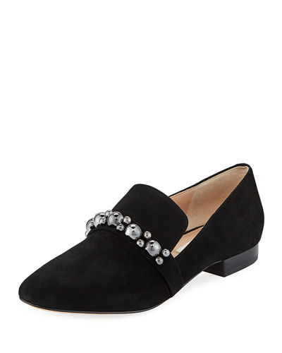 Liv Embellished Suede Loafers