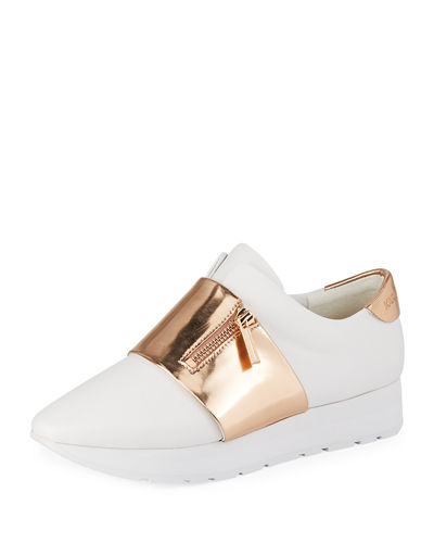 Kenley Banded Slip-On Leather Sneakers