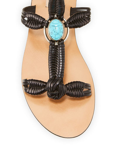 Braided Leather Ankle-Strap Sandals