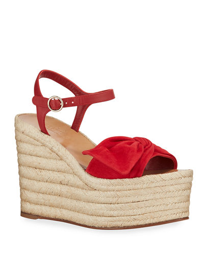 Leather Ankle-Strap Wedge Espadrilles