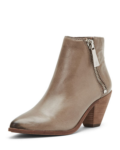 Lila Zip Leather Ankle Booties