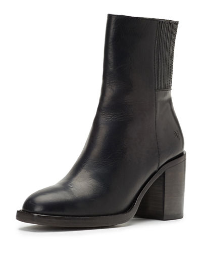 Pia Chelsea Leather Block-Heel Booties