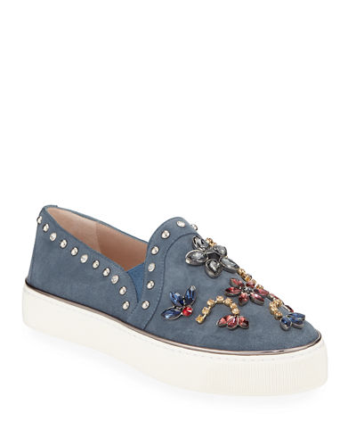 Detail Embellished Suede Sneakers